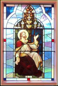 The above stained glass from St Mair's at St Mathews Abernant Church
