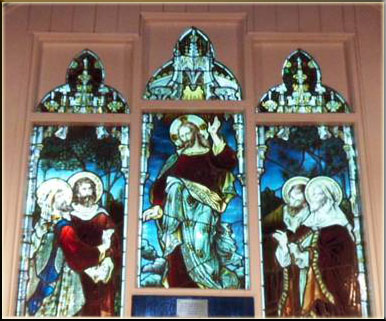 Stain glass portraying Ascension (St Mathew's Church Abernant)