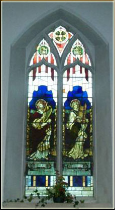 The stained glass of David and St Celia at St Elvan's Church Aberdare