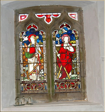Menelaus South Stain glass St Cynog Church Penderyn