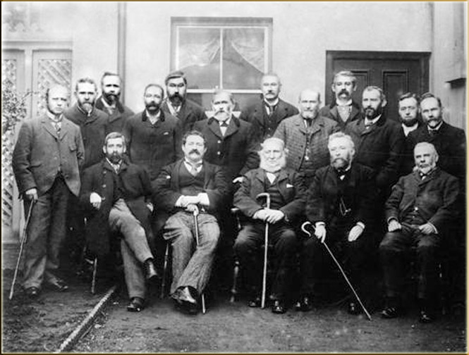 L to R: (Standing) Rev. T Humphries, G George, E Morgan R Llewellyn, D Williams, John Howell, Owen Harris, Thomas Rees, E M Hann, Rev. B Evans, M John; (Sitting) Thomas Thomas, Owen Williams, Thomas Phillips, R H Rhys, D P Davies, William Thomas