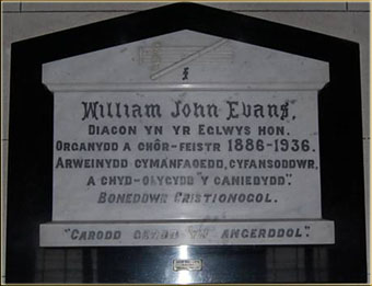 Memorial to W.J. Evans Siloa Chapel, Aberdare