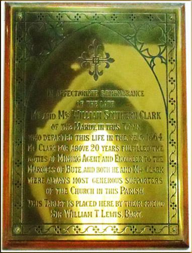 Plaque dedicated to Mr W.S. Clark St Elvan's Church