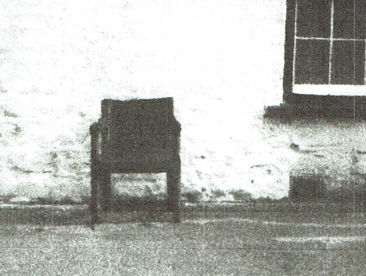The chair of Gwilym Harri, weaver poet of Pontbrenllwyd, the chair was photographed outside Ysgubor Fawr House