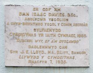 Picture of Dan Isaac Davies Plaque