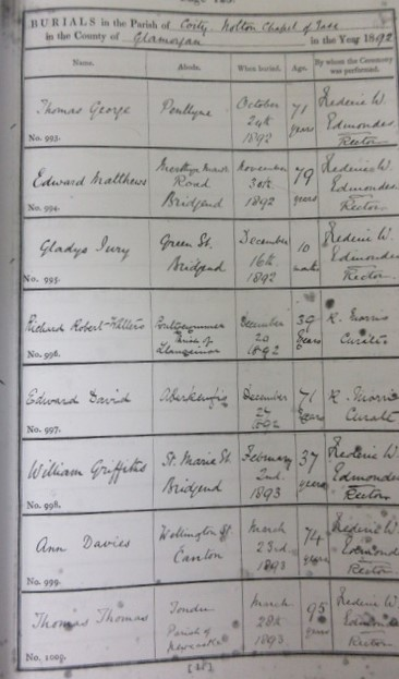 Picture of Burial Register of the death of Rev. Edward Matthews