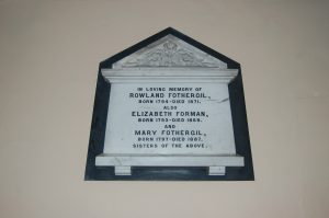 Picture of Memorial Plaque to Rowland Fothergill and his sisters
